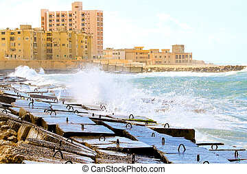 Alexandria breakwater - Buildings and breakwater at...