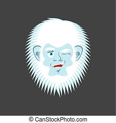 Yeti winks emoji. Abominable snowman cheerful avatar....