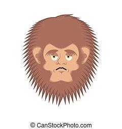 Bigfoot sad emoji. Yeti wailful emotion face. Abominable...