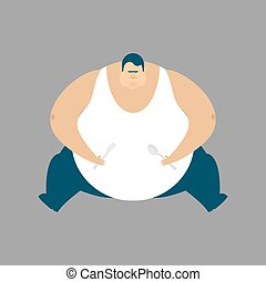 Fat guy sitting isolated. Glutton Thick man. fatso vector...