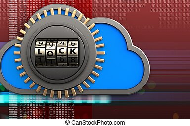3d code lock door safe - 3d illustration of cloud with code...