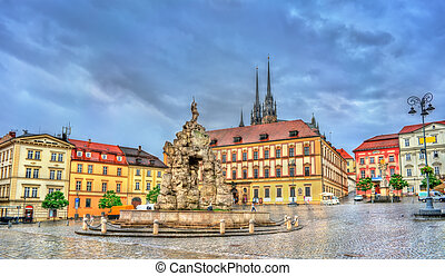 Parnas Fountain on Zerny trh square in the old town of Brno,...