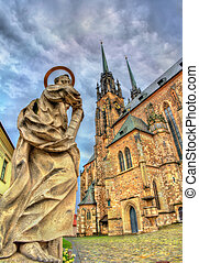 Statue at the Cathedral of Saints Peter and Paul in Brno,...