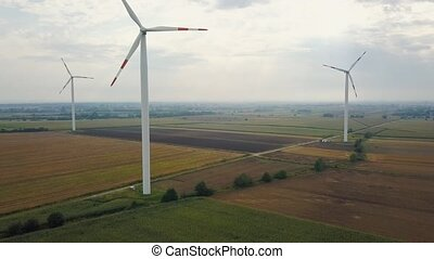 Aerial view of energy producing wind turbines, Poland -...