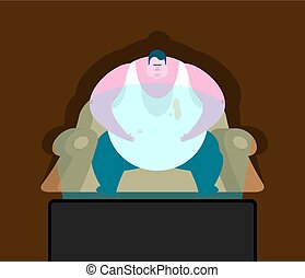 Fat guy is sitting on chair and TV. Glutton Thick man and...