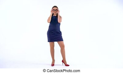 Attractive businesswoman wearing glasses on white background