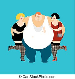 lucky Fat guy and girls. Glutton Thick man and women. fatso...