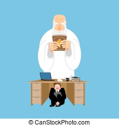 Businessman scared under table of God. frightened business...