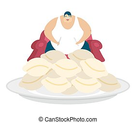 Fat guy is sitting on chair and dumplings. Glutton Thick man...