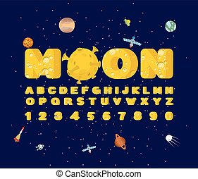 Moon font. Yellow letters of moon texture. Vector alphabet