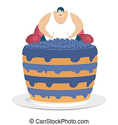 Fat guy is sitting on chair and blueberry cake. Glutton...