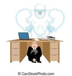 Businessman scared under table of yeti. To hide from to be...