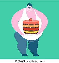 Fat guy and cake. Glutton Thick man and pie. fatso vector...