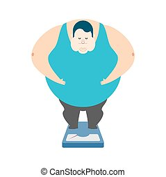 Fat guy on scales. Glutton Thick man. fatso vector...
