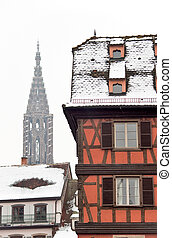 Red building in winter Strasbourg - Winter view of red...
