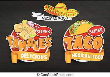 Set od traditional Mexican food logos, emblems. - Set of...