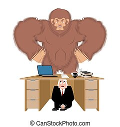 Businessman scared under table of bigfoot. To hide from to...
