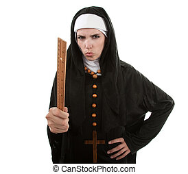 The Angry Nun - Angry Young Catholic nun pointing with a...