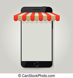Mobile phone. Mobile store or e-commerce concept.