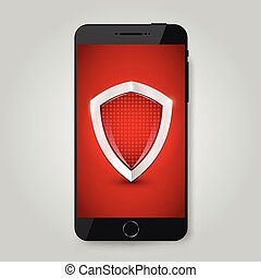 Smartphone protection. Smartphone with shield. Vector...