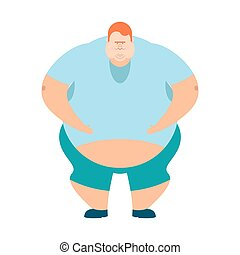 redhead Fat guy. Glutton Thick man. fatso vector...