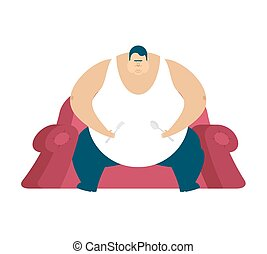 Fat guy is sitting on chair. Glutton Thick man. fatso vector...