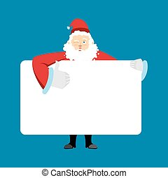 Santa Claus holding banner blank. Christmas grandfather and...