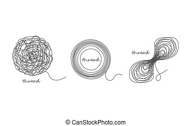 Thread ball and ravel icon set isolated on white. Vector...