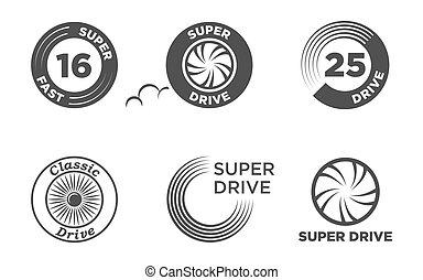 Wheel car icon set template logo