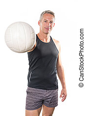 Beach volleyball player Studio shot over white