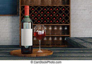 Alcohol concept - Close up of red wine glass and bottle with...