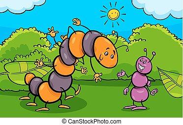 formica, insetto, bruco, caratteri, cartone animato