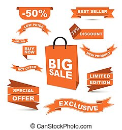 vector set orange ribbons - big sale/ hot offer/ special offer/low price/ buy now/ best price/ best seller/ discount/ new product/ liited edition/ exclusive