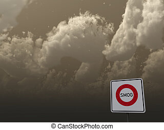 smog - roadsign smog area under dark sky - 3d illustration