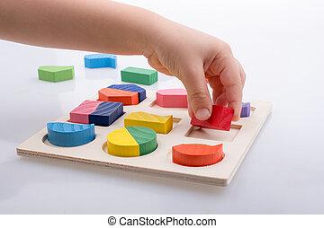 mão, quebra-cabeça, lógica, coloridos, pedaços