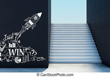 Entrepreneurship concept - Concrete stairs with sky view and...