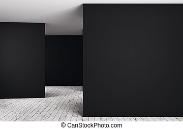Unfurnished dark interior with empty wall