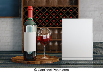 Announcement concept - Close up of red wine glass and bottle...
