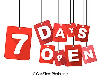 7 days open, red vector 7 days open, flat vector 7 days...