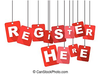register here, red vector register here, flat vector...
