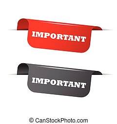 important, red banner important, vector element important