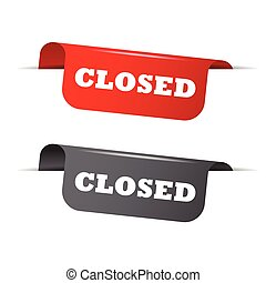closed, red banner closed, vector element closed