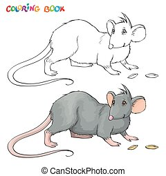 Vector Coloring book for children with rat. - Vector...