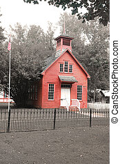 Historic Old school house is preserved in the park
