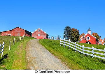 farm landscape in rural Vermont - Scenic farm landscape in...