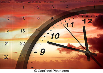 Time passing - Clock face and calendar in sky