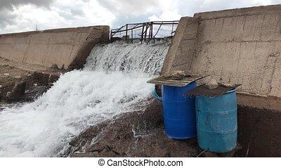 discharge of water in the lake Kari, Armenia