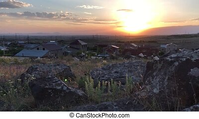 Sunset in the suburbs of Yerevan, Armenia