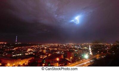 Thunderstorm over night Yerevan, Armenia timelapse video