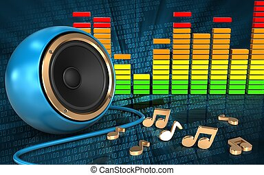 3d audio spectrum notes - 3d illustration of blue sound...